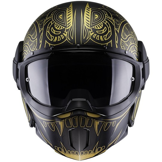 Casque Moto Jet Fibre Caberg GHOST MAHORI Noir Or