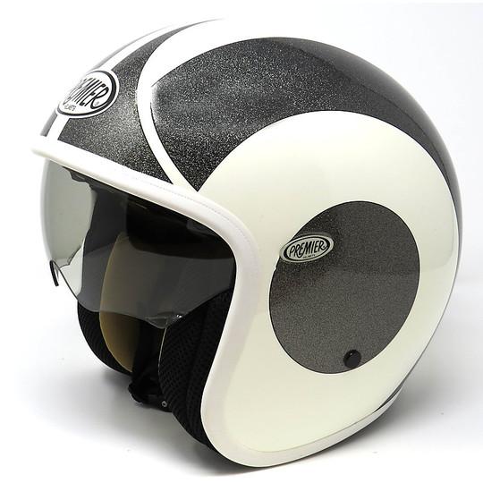 Casque moto Jet Fibre Premier Vintage blanc Glitter Grey