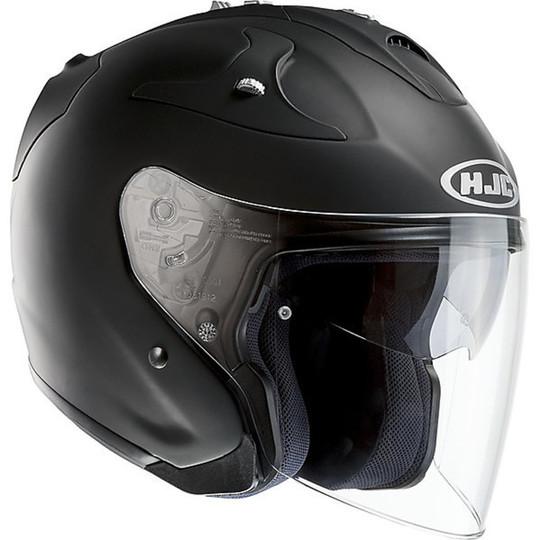 Casque moto Jet Hjc en fibre argent FG-JET noir mat