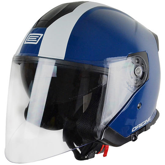 Casque Moto Jet Long Palio Origin Double Visor Bicolor Street Bleu marine