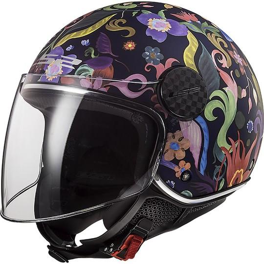 Casque moto Jet LS2 OF558 SPHERE LUX Bloom Black Pink + Dark Visor