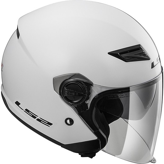 Casque moto Jet LS2 OF569 Track Double Visor Solid Glossy White