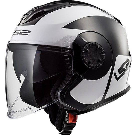 Casque moto Jet LS2 OF570 Verso Mobile Noir Blanc