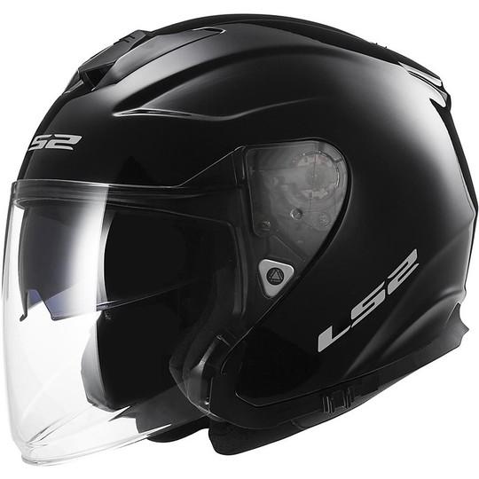 Casque Moto Jet LS2 OFF 521 Double Visor Infinity Mono Glossy Black
