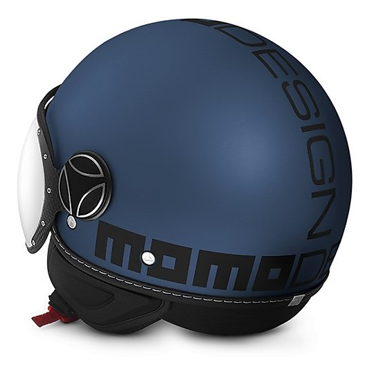 Casque Moto Jet Momo Design Double Visor Blue Avio Black Written