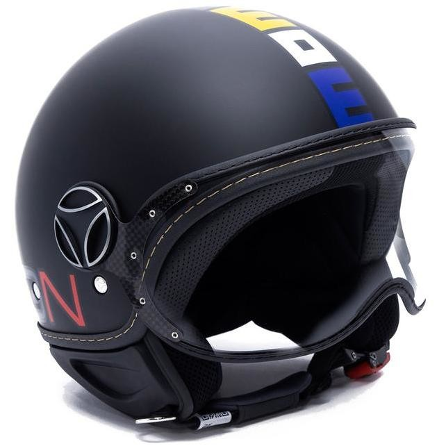 Casque Moto Jet Momo Design FGTR Fighter CLASSIC Matt Black Decal Multicolor
