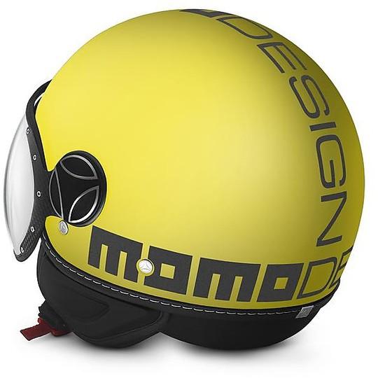 Casque moto Jet Momo Design Fighter Classic Anthracite Matt Yellow