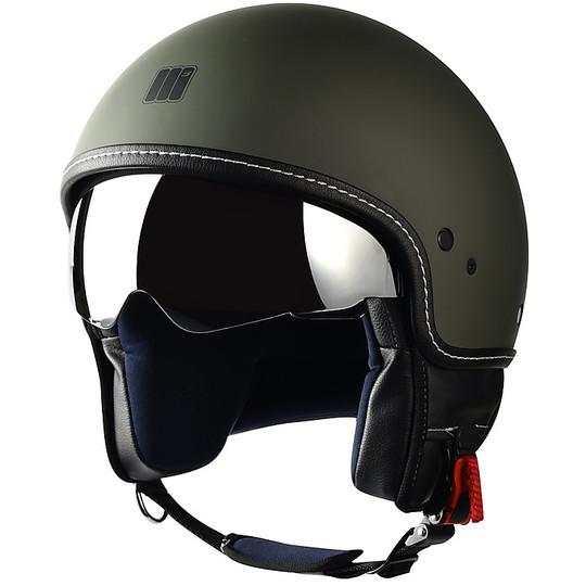 Casque moto Jet Motocubo Beetle Green Military Matt avec visière
