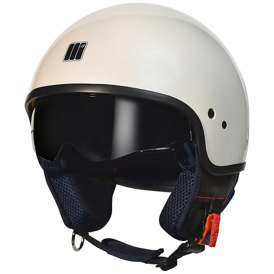 Casque moto Jet Motocubo Wasp blanc perle avec visière