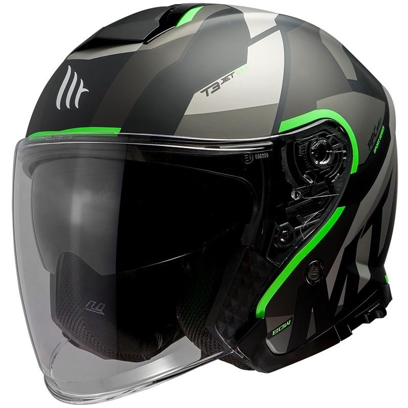 Casque moto Jet Mt Helmet THUNDER Sv Jet BOW A6 Matt Black Green Fluo