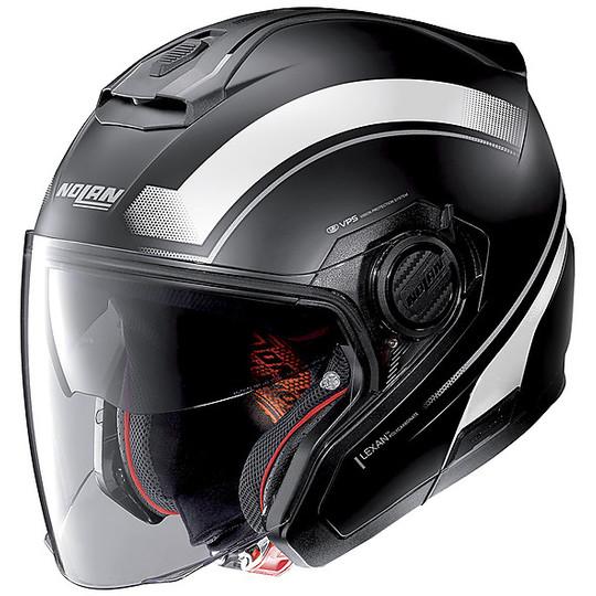 Casque moto Jet Nolan N40.5 RESOLUTE 016 Matt Black White