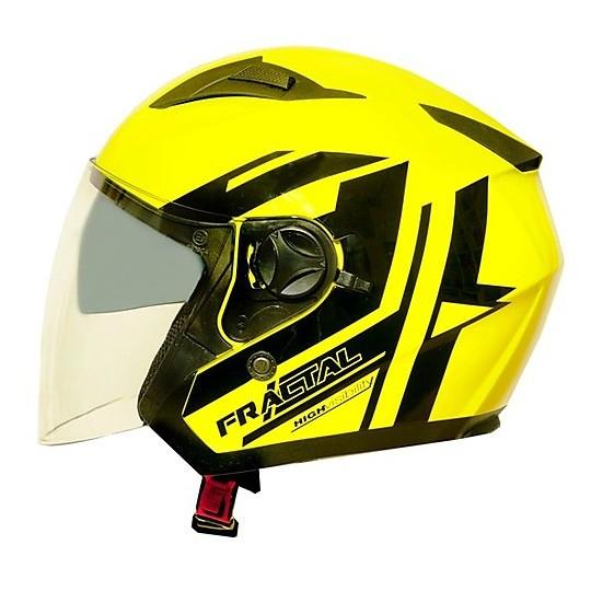"""Casque Moto Jet One """"Jettone"""" Hi-Vision Double Visor Jaune Noir"""