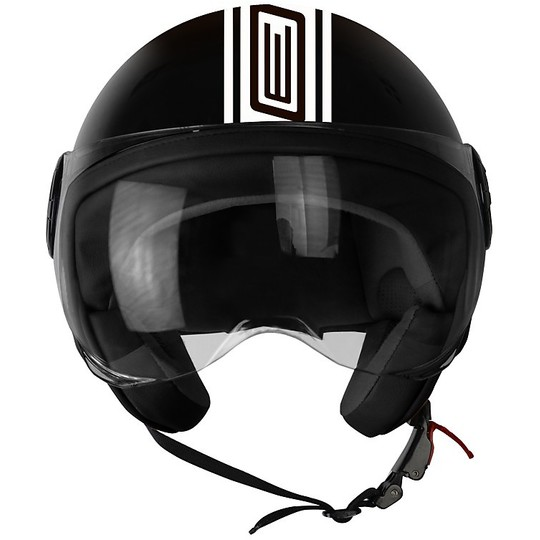 Casque moto Jet Origin Neon Noir Blanc