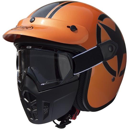 Casque moto Jet Premier Vintage Fiber Mask Metallic Orange