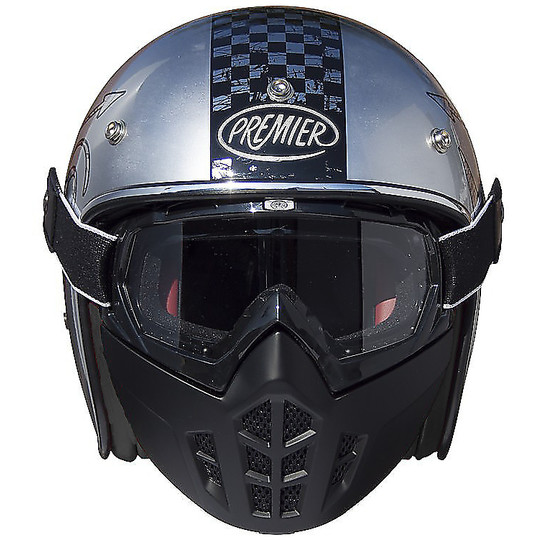 Casque Moto Jet Premier Vintage Fibre Mask NX Chromed Black Interior