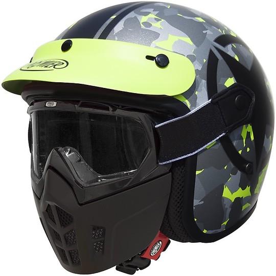 Casque moto Jet Premier Vintage Fibre Mask Star Camo Fluo BM