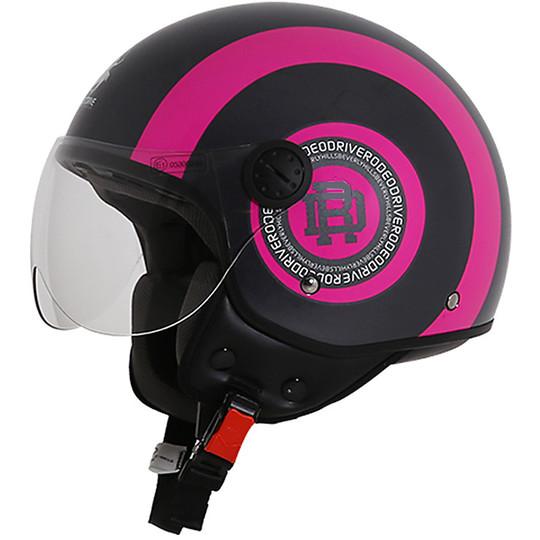 Casque moto Jet Rodeo Drive RD105 Bandes Noir Fuchsia