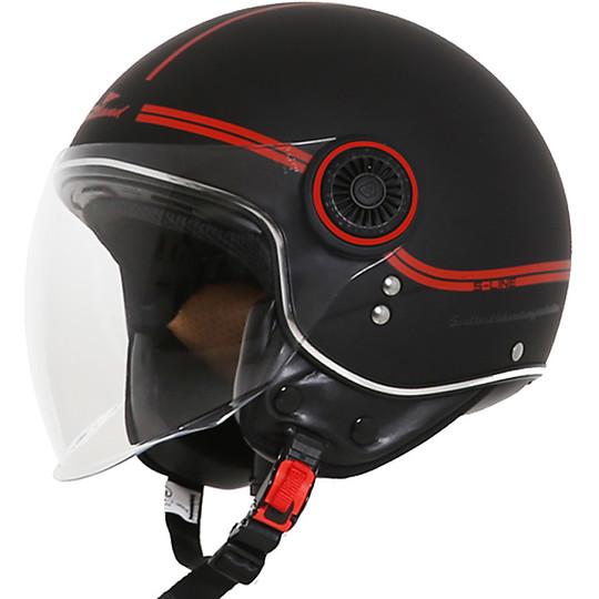 Casque Moto Jet Scotland Fashion Visor Noir Rouge