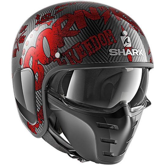 Casque Moto Jet Shark S-DRAK FREESTYLE CUP Carbon Red