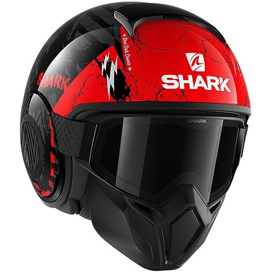 Casque Moto Jet Shark STREET-DRAK Crower Noir Anthracite Rouge