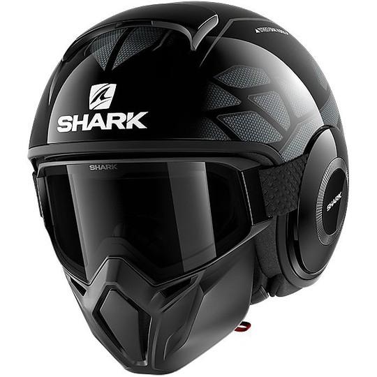 Casque Moto Jet Shark STREET-DRAK HUROK Noir Argent