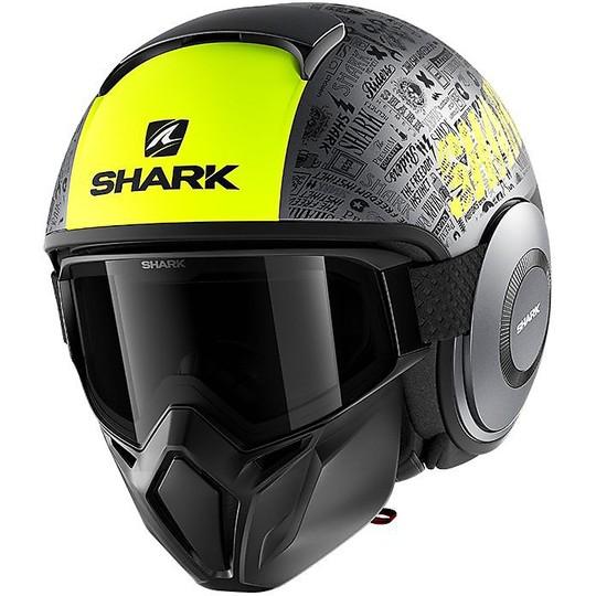 Casque Moto Jet Shark STREET-DRAK Tribute RM Noir Jaune Mat