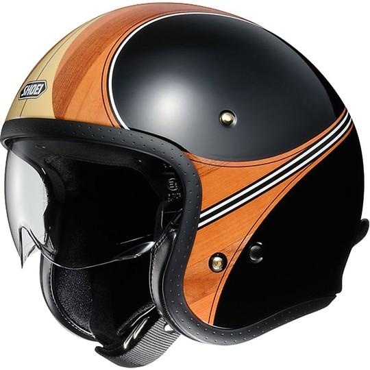 Casque moto Jet Shoei JO Vintage Waime Noir Orange