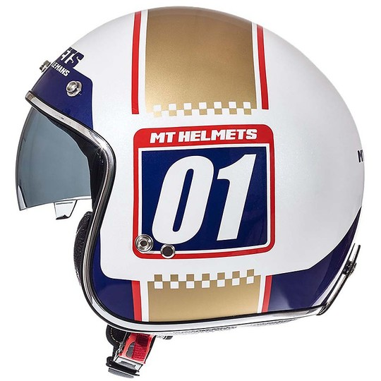 Casque moto Vintage Jet MT Casques Le Mans SV 2 NUMBERPLATE A0 Or blanc
