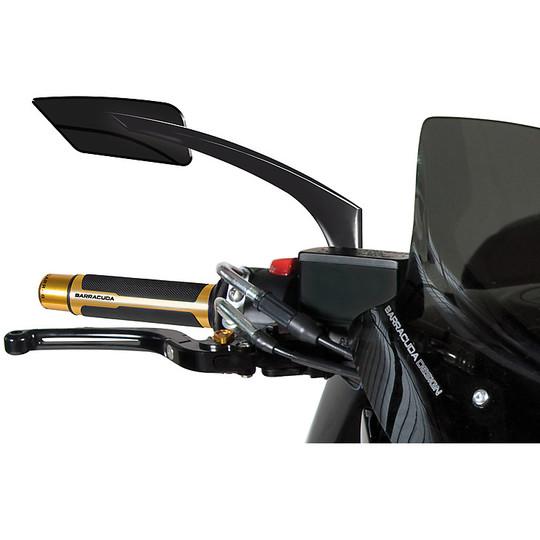 Coppia Specchi Retrovisori Moto BARRACUDA In alluminio E-Version Alux Nero