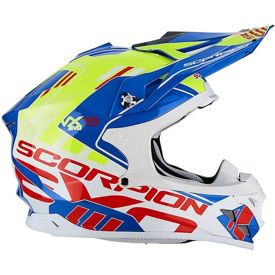 Cross Enduro Casque de moto Scorpion VX-15 EVO Air Argo Blue Neon Yellow