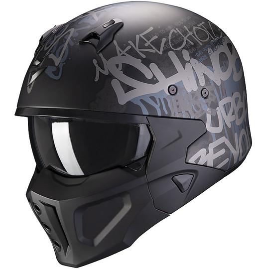 CrossOver Street Fight Casque En Scorpion COVERT-X WALL Moto Fibre Noir Mat Argent