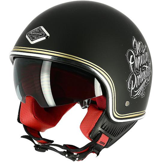 Demi Jet Casque de moto Custom Astone MINIJET 66 Memento Mori Matt Black
