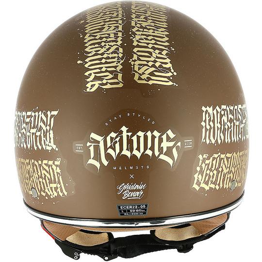 Demi Jet casque de moto personnalisé Astone MINIJET 66 tatouage abstrait Cali Matt Brown