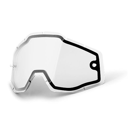 Double lentille originale transparente pour lunettes 100% Racecraft Accuri et Strata