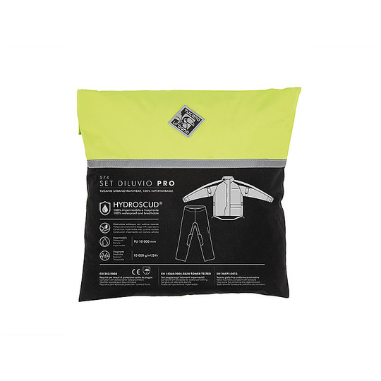 Ensemble complet Veste et pantalon imperméables Tucano Urbano 574 DILUVIO PRO SET Fluo Yellow Black