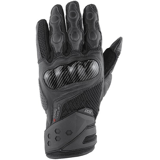 Gant de course moto en cuir Ixs Carbon Mesh III noir