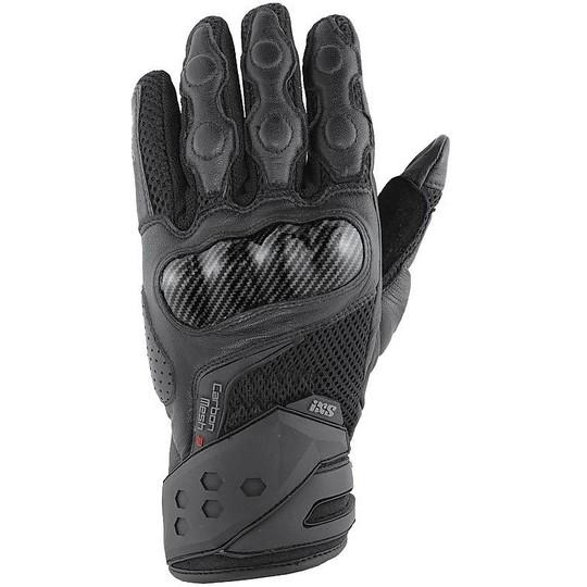 Gant de course moto pour femme en cuir Ixs Carbon Mesh III noir