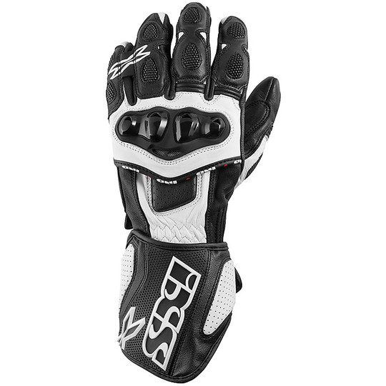 Gant Moto Racing Cuir Ixs Sport Rs-300 Noir Blanc