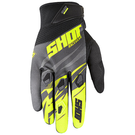 Gants Cross Enduro Shot DEVO VENTURY Gris Fluo Jaune