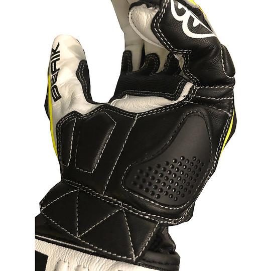 Gants de course moto en cuir Berik 2.0 185349 Pista blanc gris noir