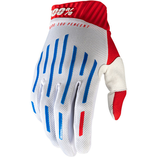 Gants de moto 100% Cross Enduro RIDEFIT Rouge Blanc Bleu