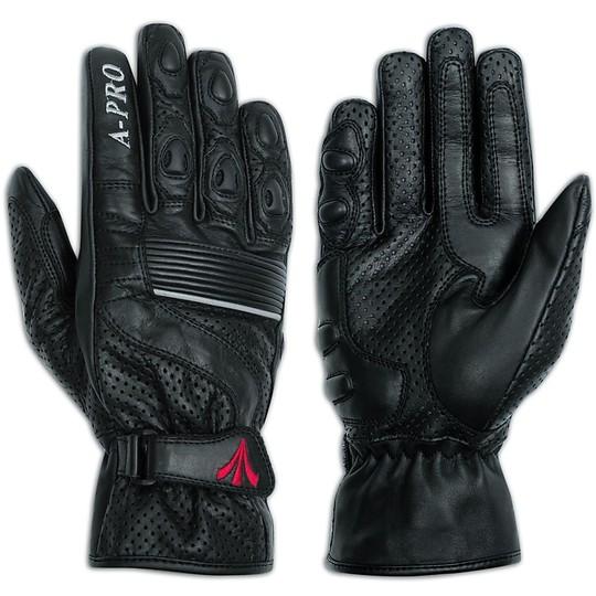 Gants de moto A-Pro en cuir pleine fleur perforé, filtre noir