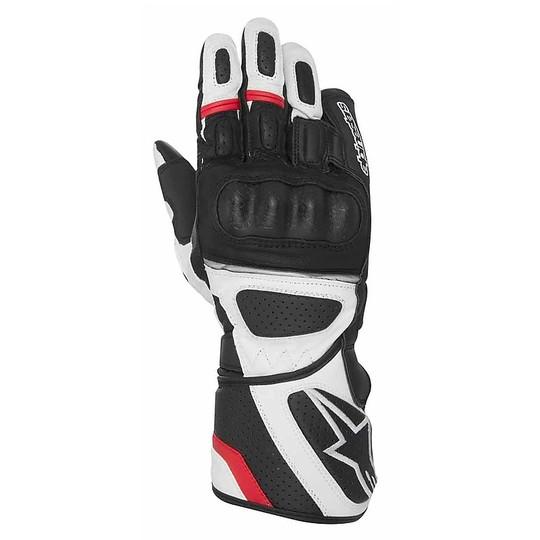 Gants de moto Alpinestars Sp-Z Drystar cuir noir blanc rouge