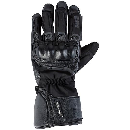 Gants de moto coupe-vent en cuir et tissu léger Touring Ixs Montevideo-ST noir