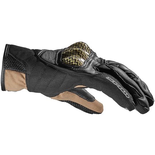 Gants de Moto Courts en Cuir Spidi REBEL Noir Marron