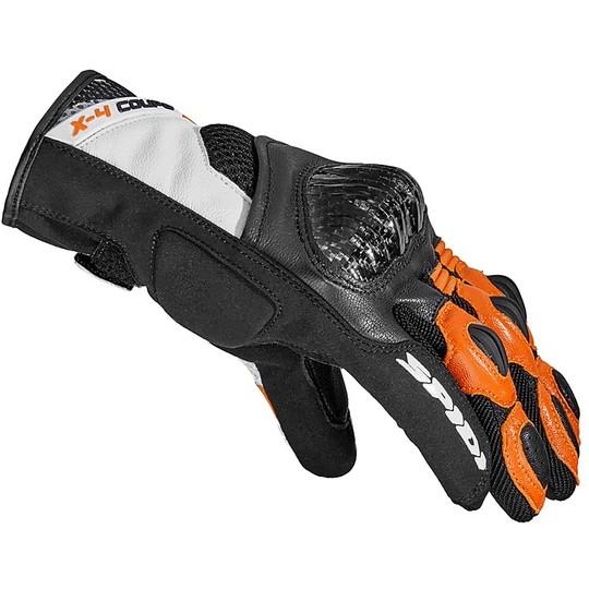 Gants de Moto Courts en Cuir Spidi X-4 COUPE 'Noir Orange
