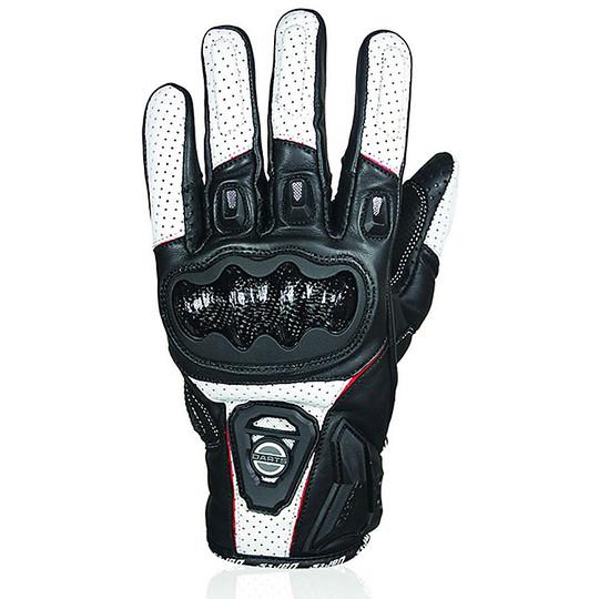 Gants de moto d'été Darts en cuir Striker certifié noir blanc