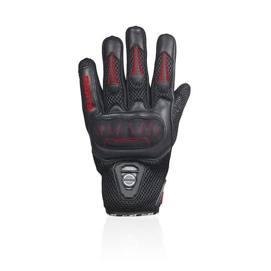 Gants de moto d'été Darts en tissu et cuir Leader Black Red Certified
