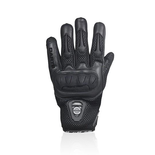 Gants de moto d'été Darts en tissu noir certifié et leader du cuir