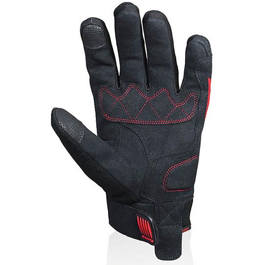 Gants de moto d'été de fléchettes en tissu avec protection contre les éclaboussures noir rouge certifié